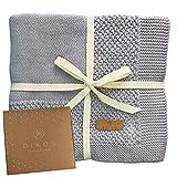 Babydecke Baumwolle grau   100% GOTs BIO Neugeborenen Decke   atmungsaktive Baby Strickdecke mit Bordüre Mädchen/Junge   nachhaltige Kuscheldecke Baumwolldecke   Geschenk zur Geburt Babyparty