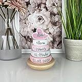 Personalisierter Stapelturm rosa personalisierbar mit Geburtsdaten, personalisiertes Baby...