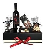 Edles Geschenkset Purer Genuss mit Premium-Toskana Rotwein und italienischen Schokoladenspezialitäten mit Haselnuss Pralinen Tartufi und Zartbitter Schokolade