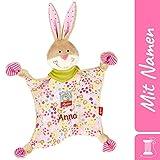 Sigikid Schnuffeltuch Hase mit Namen Bestickt, Baby & Kinder Schmusetuch personalisiert, Kuscheltuch Geschenkidee Mädchen, Bungee Bunny, Rosa, 48933