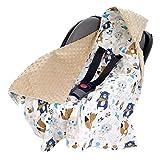 Einschlagdecke 100% Baumwolle 85x85cm Kuscheldecke für Kinderwagen Babyschale universal baby Decke doppelseitig Babydecke Buggy Autositz (Boho animals mit beige Minky)