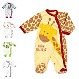 Baby Sweets Baby Strampler Unisex gelb braun rot | Motiv: Baby Giraffe | Babystrampler mit Füßen für Neugeborene & Kleinkinder | Größe Newborn (56)