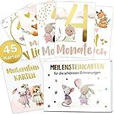 45 Baby Meilensteinkarten mit edlem Gold Effekt für Mädels Meilenstein Karten Set + magnetische Geschenkbox Geschenkidee zur Geburt, Taufe oder Babyparty (Gold, Mädchen)
