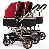 Zwillingskinderwagen Kombi, faltbarer Doppelsitz-Tandemwagen mit verstellbarer Rückenlehne, Reisesystem für Neugeborene und Kleinkinder, Schiebegriff und Fußstütze, abschließbare Räder ( Color : Red )