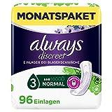 Always Discreet Inkontinenz-Einlagen Normal Spar-Paket bei Blasenschwäche, 96 Einlagen (4 Packungen...