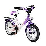 BIKESTAR Kinderfahrrad für Mädchen ab 3-4 Jahre | 12 Zoll Kinderrad Classic | Fahrrad für Kinder Lila & Weiß | Risikofrei Testen