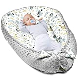 warmes Nestchen Baby - Kuschelnest Neugeborene Baby Nestchen Bett Winter/Herbst Kokon Babynest (Grau Minky mit grau-weiß Baumwolle, 90x50 cm)