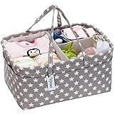 Hinwo Baby Windel Caddy 3-Compartment Infant Nursery Tote Aufbewahrungsbehälter Tragbare Organizer Neugeborenen Dusche Geschenkkorb mit abnehmbarem Teiler 10 unsichtbaren Taschen für Windeln