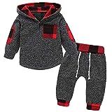 SANMIO Kleinkind Baby Junge Mädchen Hoodie Bekleidungssets Klassisches Kariertes Sweatshirt + Hosen Outfit