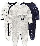 Kiddiezoom Baby-Jungen Mädchen Schlafstrampler, 3er Pack,0-3 Monate