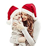Familie passende Weihnachtsmütze Mutter & Baby Strickmütze Weihnachten Eltern-Kind Pom Pom Beanie...