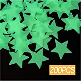 Leuchtende sterne,200 Stück Leuchtsticker Wandtattoo,Fluoreszierend Wand Aufkleber Plastik,für...
