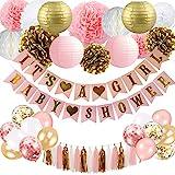 SZHUIHER Baby Shower Dekorationen für Mädchen - Pink und Gold Baby Shower Dekoration Es ist EIN...