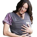 Sleepy Wrap - Dark Grey - Komfortable Babytragetasche aus Baumwolle für Neugeborene bis 35 lbs