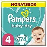 Pampers Baby-Dry Windeln, Gr. 4, 9-14kg, Monatsbox (1 x 174 Windeln), bis zu 12 Stunden...