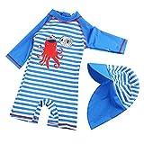 G-Kids Kinder Jungen Badeanzug Bademode Einteiler UPF 50+ UV Schützend Schwimmanzug mit Sonnenhut,Blau/Weiss,90-100 (Etikette 2)