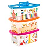 Centi Aufbewahrungsboxen für Kinder transparent mit Deckel und Handgriff 4 Liter 3 Stück Sortiert