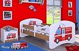 HB Kinderbett mit Matratze und Bettkasten - NEU , Verschiedene Motive Für Junge Buche (160x80cm mit Schublade, FEUERWEHR 1)
