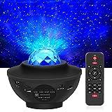 LED Projektor Sternenhimmel Lampe Kinder Nachtlicht Baby Sterne Lampe mit Fernbedienung/Bluetooth Lautsprecher und Starry Stern/Wasserwellen-Welleneffekt für Party Geburtztag