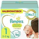 Pampers Größe 1 Premium Protection Baby Windeln, 96 Stück, HALBMONATSBOX, Weichster Komfort Und...
