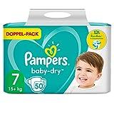 Pampers Baby-Dry Größe 7, 50 Windeln, bis zu 12Stunden Rundum-Auslaufschutz, 15kg+