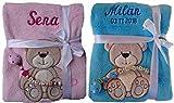 Babydecke mit Namen bestickt + Schnullerkette, Geschenk Baby Taufe Geburt (türkis)