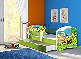 Clamaro 'Fantasia Grün' 140 x 70 Kinderbett Set inkl. Matratze, Lattenrost und mit Bettkasten Schublade, mit verstellbarem Rausfallschutz und Kantenschutzleisten, Design: 20 Bagger