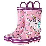 Kinder Gummistiefel - Mädchen Jungen Regenschuhe Wasserdicht Kleinkind Rain Boot mit Griff