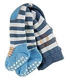 FALKE Babys Crawler Boy (D) B TI geringelte Baumwoll-/Strumpfhose Kniepolster, Blau (Light Denim...