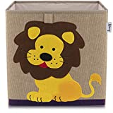 Lifeney Kinder Aufbewahrungsbox I praktische Aufbewahrungsbox für jedes Kinderzimmer I Kinder Spielkiste I Niedliche Spielzeugbox I Korb zur Aufbewahrung von Kinder Spielsachen (Löwe dunkel)