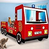 Kinderbett Jugendbett Juniorbett Bett Autobett Feuerwehrbett Spielbett Kindermöbel 205 cm x 94,5 cm...