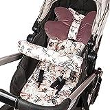 Sitzauflage Kinderwagen Einlage - Buggy Auflage Sitzeinlage für Kindersitz atmungsaktiv universal Set mit Kopfstütze Gürtelschutz 75x35 cm (Puderrosa – wilde Rose)