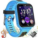 Smartwatch Kinder Telefon Uhr Touchscreen Kids Smart Watch für Kinder mit SOS Anruf Musik Spiel Taschenlampen, Kinderuhr Geschenk für Jungen Mädchen, 1 GB Micro SD Enthalten (blau)