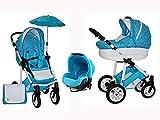 Skyline Kombi 3in1 Kinderwagen mit einem Aluminium Gestell, Babywanne, Sport Buggyaufsatz und...