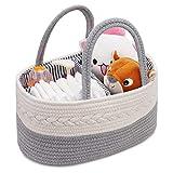 Baby-Wickeltasche, Aufbewahrungskorb für Babys, für Neugeborene, Windelaufbewahrungskorb für Baby, 3 Fächer, Aufbewahrungskorb für Babyzimmer, reine Baumwolle, Seil, Aufbewahrungskorb, Baby-Party