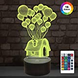 Mädchen-Geschenk, fliegendes Nachtlicht des Ballon-Haus-3D 16 Farben, die Nachtlichter für Kinder...