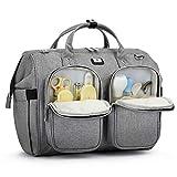 Pomelo Best Wickeltasche mit wasserdicher Wickelunterlage und 2 Kinderwagen Haken verstellbare Schultergurt multifunktionale Umhängetasche Reisetasche für Unterwegs (Grau)