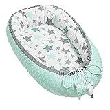 Solvera_Ltd Babynest 2seitig Kokon MINKY+100% Baumwolle Babybett Nestchen für Neugeborene Kuschelnest Weiches und sicheres Baby-Reisebett (50x90) (Minky Minze)