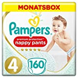 Pampers Premium Protection Pants, Gr. 4, 9-15kg, Monatsbox (1 x 160 Höschenwindeln), Federweiche...