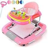 Daliya BEBISTEP 4in1 Spiel- und Lauflernwagen - Babywalker - Babywippe mit Musik- & Spielecenter & Esstisch - Farbe Rosa