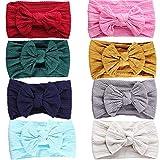 GUIFIER 8 Stück Baby Mädchen Stirnband mit Bogen Baby Kopfband Mädchen Elastisches Nylon Stirnband Turban Baby Stirnbänder Haarbänder für Newborn Babys