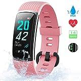 KUNGIX [Neuestes Modell] Fitness Tracker, Schrittzähler Uhr IP68 Wasserdicht Smartwatch mit Pulsmesser Smart Watch für Damen Herren Kinder iOS Android Kompatibel