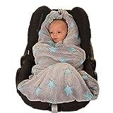 HOPPEDIZ Fleece-Decke für 3 & 5 Punkt-Gurtsysteme Einschlag-/Auto-/Krabbeldecke grau/türkis mit...