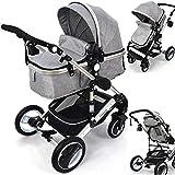 Daliya Bambimo 2in1 Kinderwagen - Kombikinderwagen 9-Teiliges Set incl. Babywanne & Sportsitz/Buggy - 1-Klick-System/Alu-Rahmen/Voll-Gummireifen/Sonnenschutz/Getränkehalter in Grau