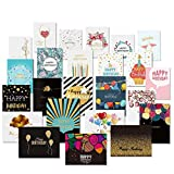 24 Happy Birthday Cards with Gold Embellishments Design and 26 Envelopes - Unomor Birthday Greeting...