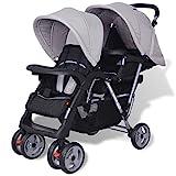 mewmewcat Geschwisterwagen Kinderwagen Geschwisterkinderwagen aus Stahl + Oxfordgewebe für 1-2 Kinder bis zu je 15kg - Grau und Schwarz
