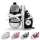 BiBeGoi Baby-Sneaker für Jungen und Mädchen, aus Segeltuch, hohe Schnürung, Freizeitschuhe für Neugeborene, Krippenschuhe, Lauflernschuhe, Schwarz - A02 Schwarz - Größe: 0-6 Monate