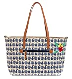 pink lining Notting Hill Tote Apples & Pears Blue