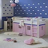 Homestyle4u 1535, Kinder Hochbett Weiß Mit Leiter, Vorhang Rosa, Massivholz Kiefer Weiß, 90x200 cm