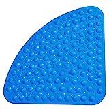 Shirylzee Duschmatte rutschfest Badematte Anti Rutsch Matte Antibakteriell Viertelkreis Badewannenmatten Dreieck-Massage mit Ablaufloch für Viertelkreis-Dusche oder Badewanne 54 x 54 cm Blue